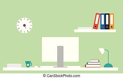 arquivos, apartamento, monitor, escritório, parede, chá, books., ilustração, escrivaninha, lâmpada, computador, desenho, clock., prateleira, verde branco, pote