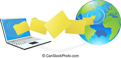 arquivos, carregando, laptop, uploading, computador, ou
