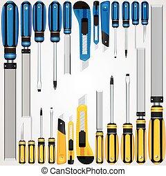 arquivos, chaves fenda, cortadores, mão, etc, vetorial, ferramentas
