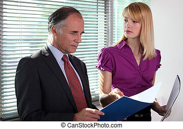 arquivos, consultar, escritório, negócio, duo
