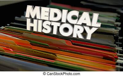 arquivos, documentos, ilustração médica, registros, 3d, história