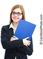 arquivos, entrevista, trabalho, mulher segura