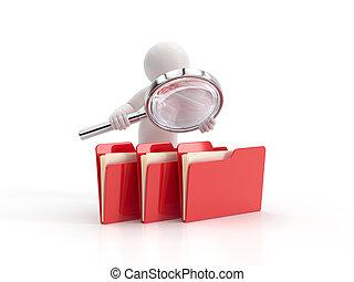 arquivos, examina, pessoas, -, pequeno, 3d