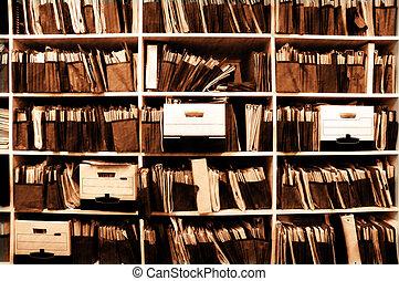 arquivos, ligado, prateleira