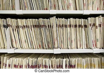 arquivos, organizado, ligado, prateleira
