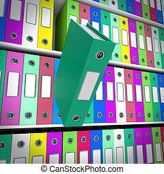 arquivos, paperwork, obtendo, prateleiras, organizado, um,...