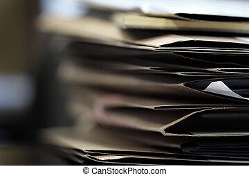 arquivos, pastas, negócio, trabalho, papeis, escrivaninha, organizar