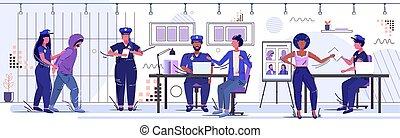 arrêté, prison, croquis, équipe, horizontal, droit & loi, entiers, prisonnier, concept, prison, sécurité, barres, salle, département, officiers, fonctionnement, tenue, police, femme-agent, service, bureau, longueur, autorité, justice