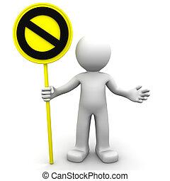 arrêt, 3d, caractère, signe jaune