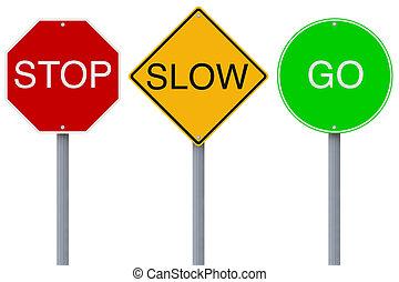 arrêt, aller, lent