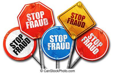 arrêt, collection, signe, rue, rendre, fraude, rugueux, 3d