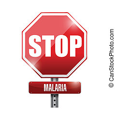 arrêt, conception, malaria, illustration, signe