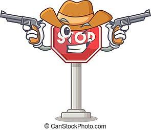 arrêt, cow-boy, formé, mascotte, signe, caractère