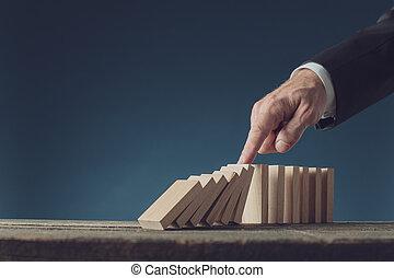 arrêt, directeur, crise, dominos, doigt, sien, écroulant, business