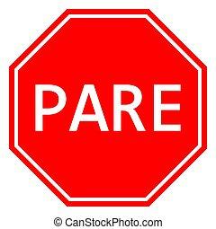 arrêt, espagnol, vecteur, illustration, signe, trafic