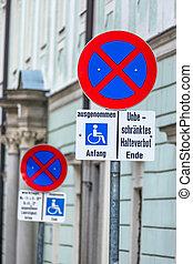 arrêt, fauteuil roulant, non, signe