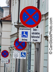 arrêt, fauteuils roulants, non, signe