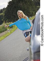 arrêt, femme voiture