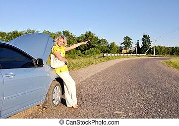 arrêt, femme voiture, route, sexy