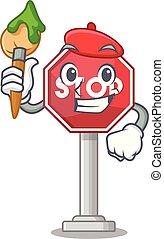 arrêt, formé, artiste, mascotte, signe, caractère