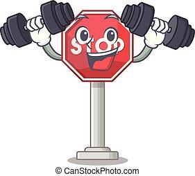 arrêt, formé, mascotte, signe, caractère, fitness