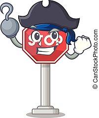 arrêt, formé, mascotte, signe, pirate, caractère