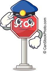 arrêt, formé, mascotte, signe, police, caractère