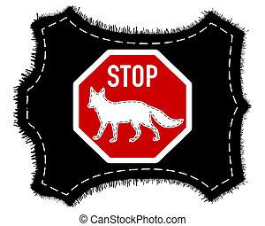 arrêt, fourrure, renard