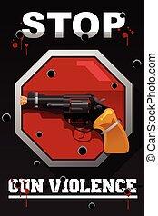arrêt, fusil, affiche, violence