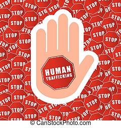 arrêt, humain, trafic, illustration, fond