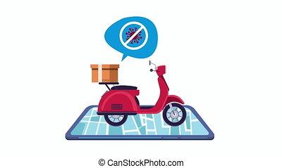 arrêt, livraison, campagne, covid19, motocyclette
