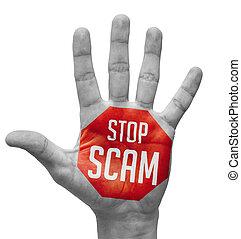 arrêt, main., concept, scam, ouvert