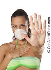 arrêt, masque respiration, signe