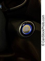 arrêt, moderne, début, moteur voiture, button., transportation.