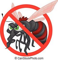 arrêt, moustique, dessin animé