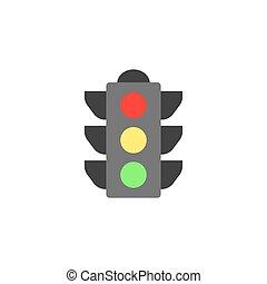 arrêt, navigation, icône, plat, feu circulation