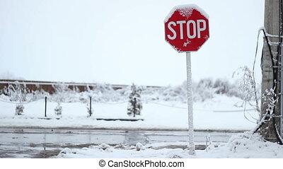 arrêt, neigeux, panneau de signalisation