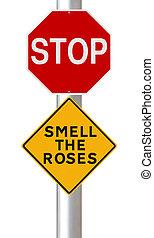 arrêt, odeur, roses