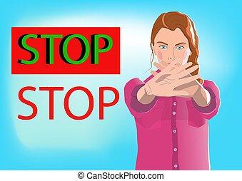 arrêt, ou, professionnel, faire gestes, jeune, autoritaire, ...