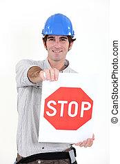 arrêt, ouvrier construction, signe