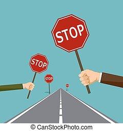 arrêt, panneaux signalisations