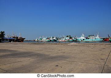 arrêt, port, bateau, chalom, bateau, tha