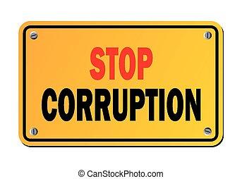 arrêt, protestation, -, corruption, signe