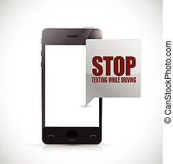 arrêt, quoique, texting, conduite, téléphone