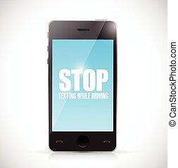 arrêt, quoique, texting, téléphone., conduite