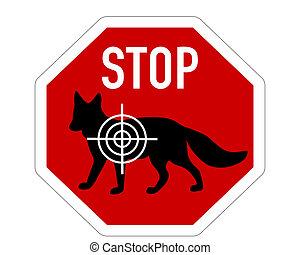 arrêt, renard, réticule