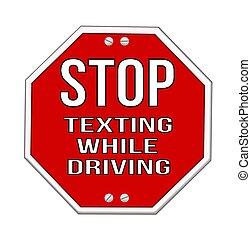 arrêt, texting, concept, signe