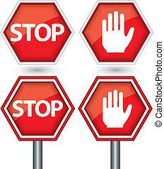 arrêt, vecteur, signe, illustration