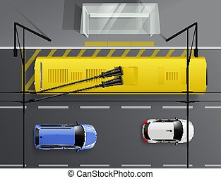 arrêt, voitures, trolleybus, composition