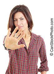 arrêter geste, à, indignation, montré, par, jeune, joli, femme